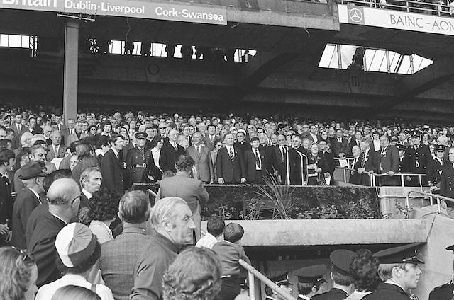 Crowds stands for national anthem before at the All Ireland Senior Hurling Final, Cork v Kilkenny in Croke Park on the 3rd September 1972. Kilkenny 3-24, Cork 5-11.