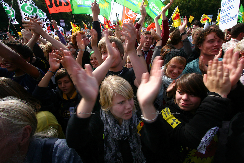 """Several tens of thousands people demonstrated today (05.09.2009) in Berlin against german nuclear policy in the forefont of the general german parliament election on 27.september 2009. The protesters had been accompanied by hundreds of tractors which farmers from norther germany have driven into the capitals center. The protest take place while Germany faces different scandals of inadequate handling of nuclear waste in """"Asse"""" and manipulated documents to implement Gorleben as a final storage for nuclear waste."""