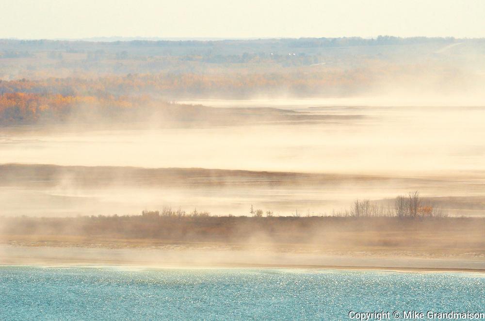 Wind picking up saline dust from saline sloughs<br /> Near Paynton<br /> Saskatchewan<br /> Canada