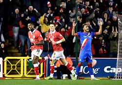 Bristol City's Jay Emmanuel-Thomas celebrates his second goal in the FA Cup third round replay between Bristol City and Doncaster Rovers at Ashton Gate on January 13, 2015 in Bristol, England. - Photo mandatory by-line: Paul Knight/JMP - Mobile: 07966 386802 - 13/01/2015 - SPORT - Football - Bristol - Ashton Gate Stadium - Bristol City v Doncaster Rovers - FA Cup third round replay