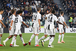 September 26, 2018 - Turin, Piedmont, Italy - Juventus players celebrate after the goal of Blaise Matuidi (Juventus FC) during the Serie A football match between Juventus FC and Bologna FC at Allianz Stadium on September 26, 2018 in Turin, Italy. .Juventus won 2-0 over Bologna. (Credit Image: © Massimiliano Ferraro/NurPhoto/ZUMA Press)