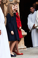 Crown Princess Leonor, Princess Sofia attended the Easter Mass at the Cathedral of Palma de Mallorca on April 16, 2017 in Palma de Mallorca, Spain.