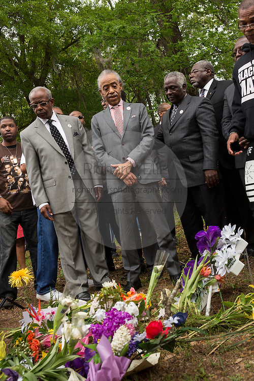 Rev. Al Sharpton during a peace vigil at the spot where unarmed motorist Walter Scott was gunned down by police April 12, 2015 in North Charleston, South Carolina. About 100 people showed up for the brief vigil following a healing service at Charity Mission Baptist Church.