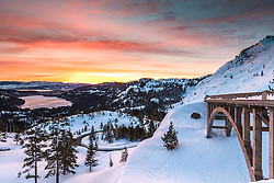 """Sunrise at Rainbow Bridge 2"" - Sunrise photograph of Rainbow Bridge above Donner Lake in Truckee, California."