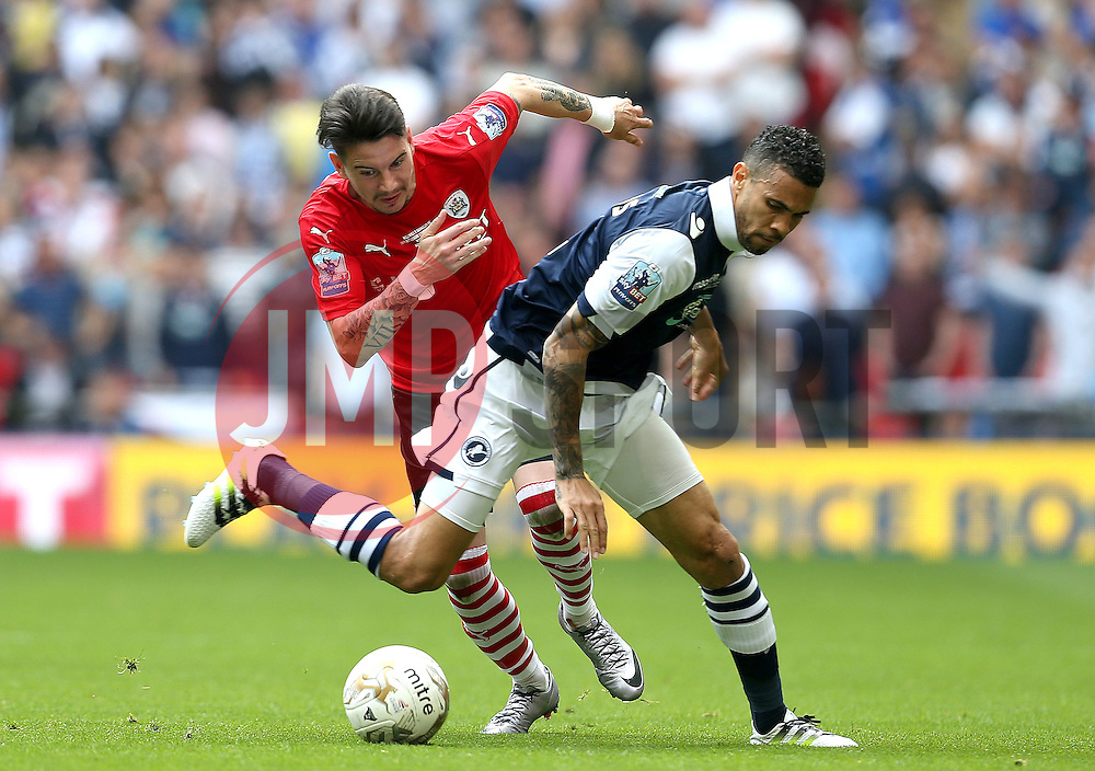 Adam Hammill of Barnsley takes on Carlos Edwards of Millwall - Mandatory by-line: Robbie Stephenson/JMP - 29/05/2016 - FOOTBALL - Wembley Stadium - London, England - Barnsley v Millwall - Sky Bet League One Play-off Final