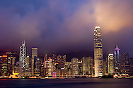 A view of the Hong Kong city skyline from the Kowloon side of the harbor.