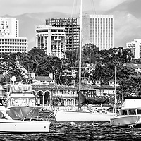Newport Beach skyline panorama black and white photo. Panoramic picture ratio is 1:3 and Includes boats in Newport Harbor (Newport Bay) with Newport Beach Fashion Island office buildings in the background.