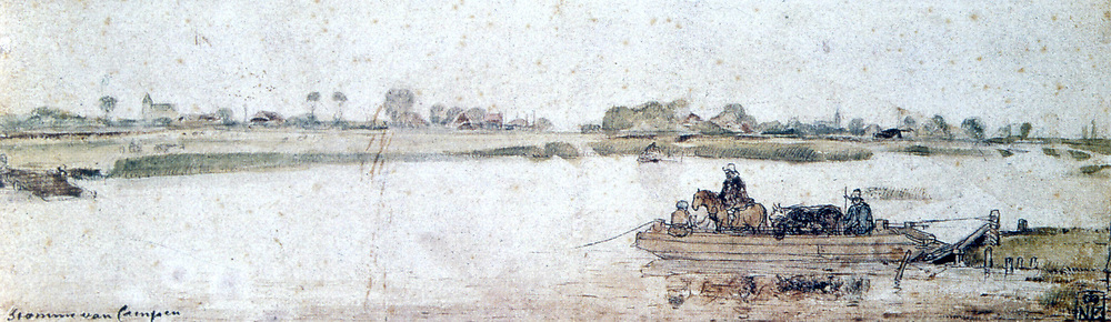 River landscape with ferry. Hendrik Avercamp (1585-1634) Dutch artist.  Watercolour, pen brown ink and white highlights.