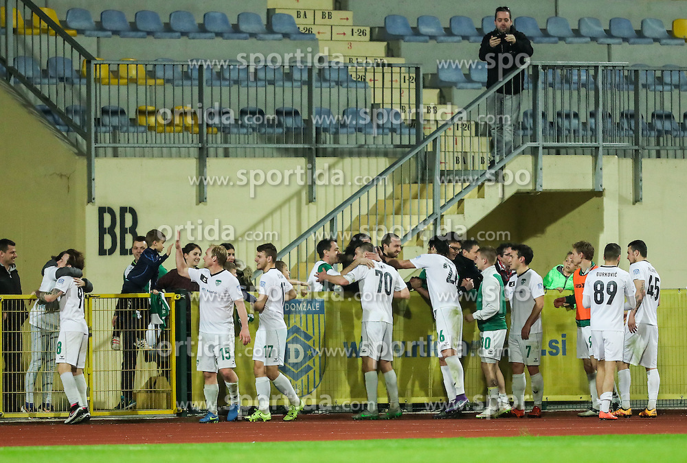 Players of Krsko celebrate after winning during football match between NK Domzale and NK Krsko in 27th Round of Prva liga Telekom Slovenije 2015/16, on April 2, 2016 in Sports park Domzale, Slovenia. Photo by Vid Ponikvar / Sportida