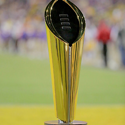 Oct 12, 2019; Baton Rouge, LA, USA; A detail of the College Football Championships trophy on display during the third quarter of a game between the LSU Tigers and the Florida Gators at Tiger Stadium. Mandatory Credit: Derick E. Hingle-USA TODAY Sports