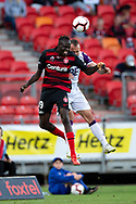 SYDNEY, NSW - FEBRUARY 24: Western Sydney Wanderers forward Abraham Majok (49) goes up for the ball at round 20 of the Hyundai A-League Soccer between Western Sydney Wanderers FC and Perth Glory on February 24, 2019 at Spotless Stadium, NSW. (Photo by Speed Media/Icon Sportswire)