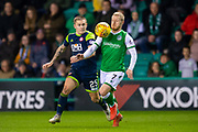 Daryl Horgan (#7) of Hibernian FC controls the ball as he runs past Scott Martin (#25) of Hamilton Academical FC during the Ladbrokes Scottish Premiership match between Hibernian FC and Hamilton Academical FC at Easter Road Stadium, Edinburgh, Scotland on 22 January 2020.