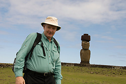 Chile, Easter Island: Travel journalist Lee Foster at Ahu Tahai..Photo #: ch357-33128..Photo copyright Lee Foster www.fostertravel.com lee@fostertravel.com 510-549-2202
