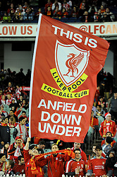 MELBOURNE, AUSTRALIA - Wednesday, July 24, 2013: Liverpool fans' banner 'Anfield Down Under' during a preseason friendly match at the Melbourne Cricket Ground. (Pic by David Rawcliffe/Propaganda)