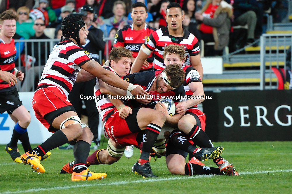 Luke Whitelock of Canterbury scores a try during the ITM Cup rugby match, Canterbury v Counties, at AMI Stadium, Christchurch, on the 23th August 2015. Copyright Photo: John Davidson / www.photosport.nz