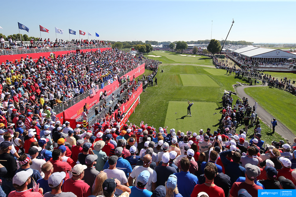 Ryder Cup 2016. Day One. Martin Kaymer of Europe tees off at the first hole in the Friday afternoon four ball during the Ryder Cup competiton at the Hazeltine National Golf Club on September 30, 2016 in Chaska, Minnesota.  (Photo by Tim Clayton/Corbis via Getty Images)