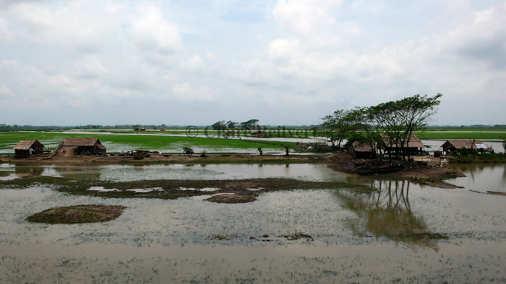 Village and rice fields destroyed by Cyclone Nargis.