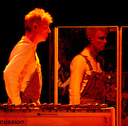 Deep into his music, David Byrne continually gyrated and danced around the stage September 17, 2004 at the historic Ryman Auditorium in Nashville, Tennessee.