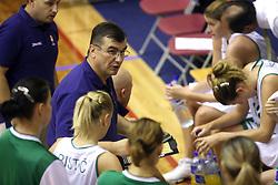 Coaches of Slovenian team Goran Jovanovic (left) and Zeljko Ciglar at basketball qualification match of women division B  between National teams of Slovenia and Netherlands, on August 27, 2008, in Vitranc Hall, Kranjska Gora. Win of NED 83:81. (Photo by Vid Ponikvar / Sportida)