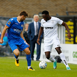 Dovers forward Inih Effiong looks to beat Eastleighs midfielder Joe Jones  during the National League match between Dover Athletic FC and Eastleigh FC at Crabble Stadium, Kent on 25 August 2018. Photo by Matt Bristow.