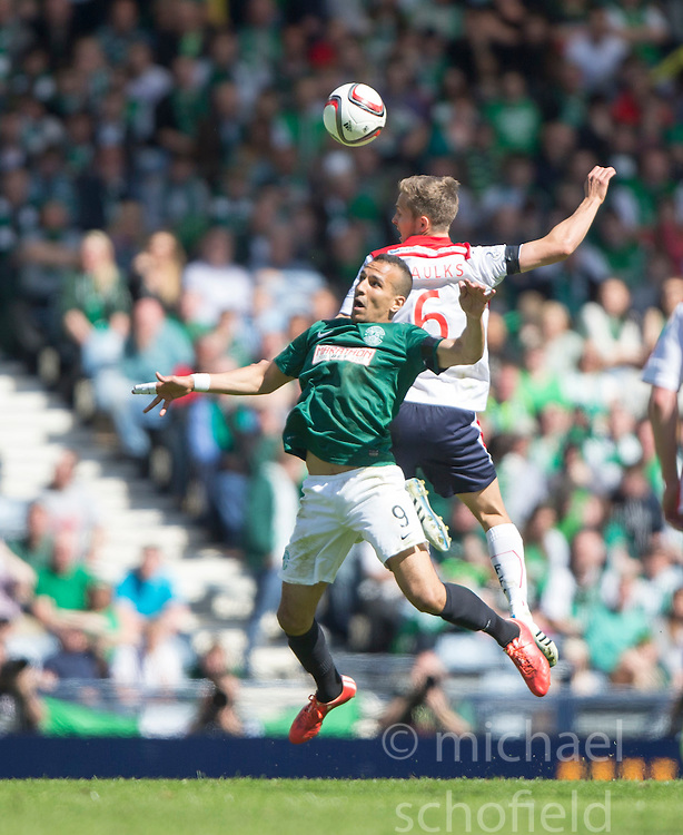 Hibernian's Farid El Alagui and Falkirk's Will Vaulks.<br /> Hibernian 0 v 1 Falkirk, William Hill Scottish Cup semi-final, played 18/4/2015 at Hamden Park, Glasgow.