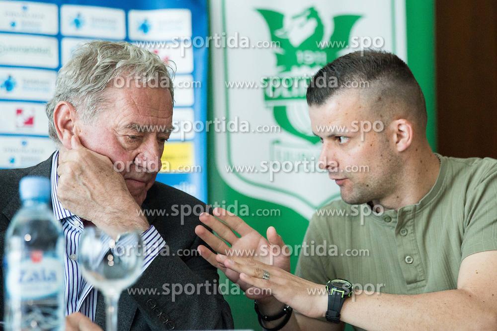 President Milan Mandaric and Aljosa Vekic during presentation of a new head coach of NK Olimpija, on April 22, 2016 in Austria Trend Hotel, Ljubljana, Slovenia. Photo by Vid Ponikvar / Sportida