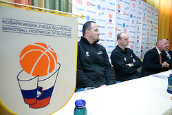 Mario Kraljevic, Jure Zdovc and Dusan Sesok at press conference when announced that Zdovc is a new Slovenian Head coach of Basketball National team, on November 25, 2008 in City Hotel, Ljubljana, Slovenia.  (Photo by Vid Ponikvar / Sportida)