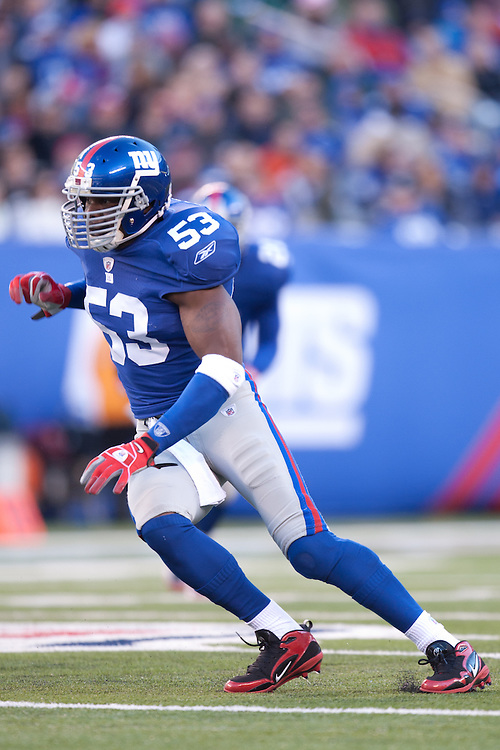 EAST RUTHERFORD, NJ - NOVEMBER 28: New York Giants linebacker Keith Bulluck #53 defends against the Jacksonville Jaguars on November 28, 2010 at the New Meadowlands Stadium in East Rutherford, New Jersey.The Giants defeated the Jaguars 24 to 20. (Photo by Rob Tringali) *** Local Caption *** Keith Bulluck
