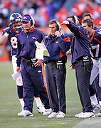 DENVER - JANUARY 22:  Head coach Mike Shanahan (center) of the Denver Broncos works the sidelines against the Pittsburgh Steelers in the AFC championship game on January 22, 2006 at INVESCO Field at Mile High in Denver, Colorado. The Steelers defeated the Broncos 34-17. ©Paul Anthony Spinelli *** Local Caption *** Mike Shanahan