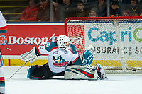 KELOWNA, CANADA - JANUARY 30: Roman Basran #30 of the Kelowna Rockets misses a first period save against the Seattle Thunderbirds  on January 30, 2019 at Prospera Place in Kelowna, British Columbia, Canada.  (Photo by Marissa Baecker/Shoot the Breeze)