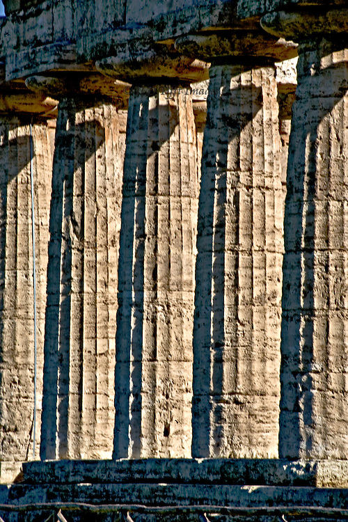 Italy, Magna Graecia : Paestum temples : temple to Hera II, Neptune, or Hera & Zeus (disputed attribution of dedication). Detail of five columns from bottom to top with curved shadows of the next column capital showing near the top of each.  Parallelism and togetherness; repetition.