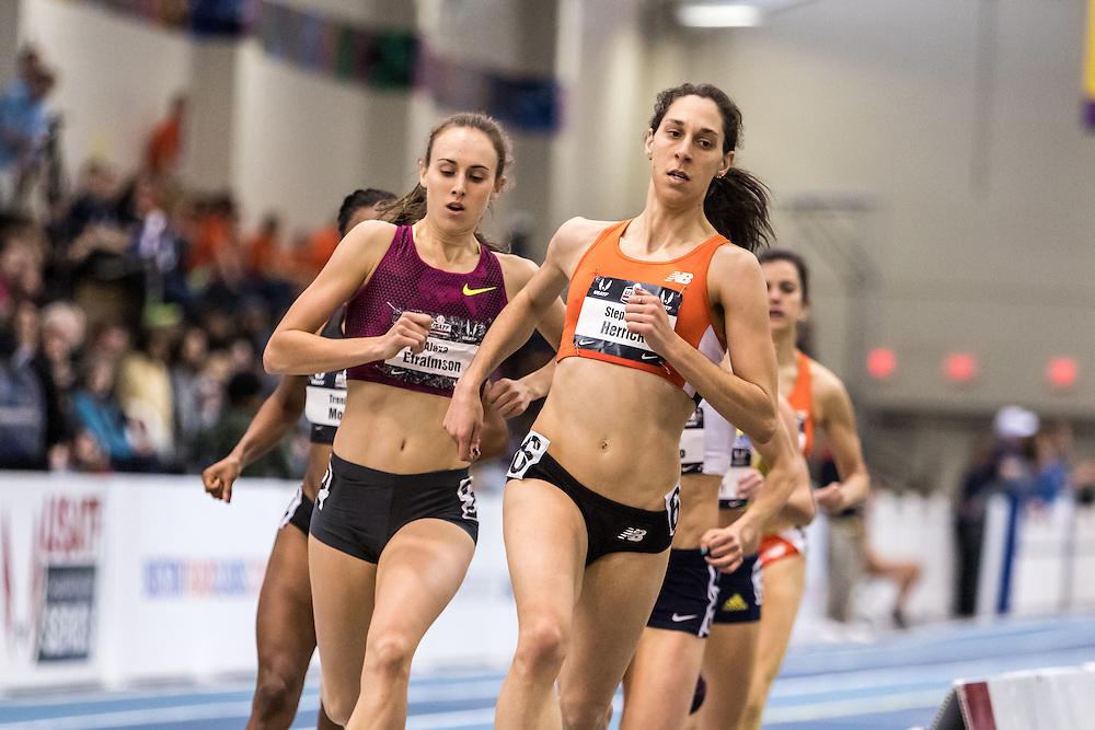 USATF Indoor Track & Field Championships: womens 1000, Stephanie Herrick, CPTC New Balance, high schooler Alexa Efraimsom, Nike