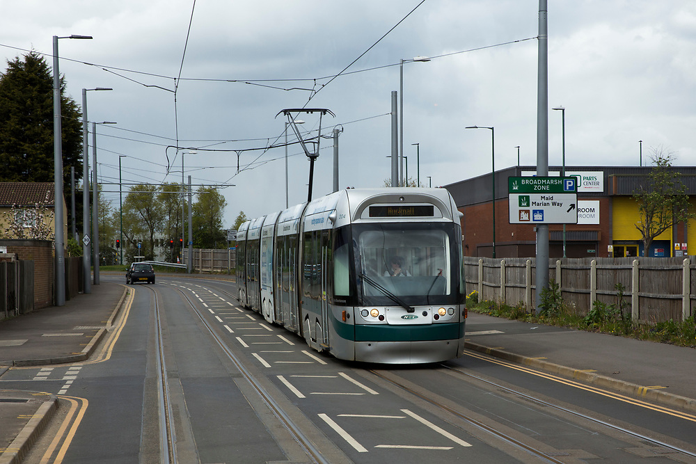 A Nottingham Express Transit (NET) tram heading towards Hucknall in Nottingham, Nottinghamshire, United Kingdom. The tram network in Nottingham has 51 stops and provides an alternative, more sustainable mode of transport for commuters and tourists.  (photo by Andrew Aitchison / In pictures via Getty Images)
