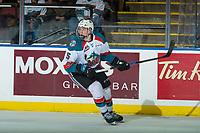 KELOWNA, CANADA - FEBRUARY 2: Cayde Augustine #5  of the Kelowna Rockets skates against the Everett Silvertips on FEBRUARY 2, 2018 at Prospera Place in Kelowna, British Columbia, Canada.  (Photo by Marissa Baecker/Shoot the Breeze)  *** Local Caption ***