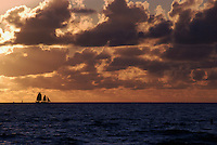 Sailboat in Miami Beach at Sunrise.