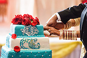 Baltimore, Maryland - December 20, 2014: Trisha Satya Pasricha and Eshwan Ramudu cut their cake.<br /> <br /> The couple, who met at Harvard, during a one of Trisha's student films, were married at the Baltimore Marriott Waterfront Hotel December 20, 2014. <br /> <br /> CREDIT: Matt Roth for The New York Times<br /> Assignment ID: 30168620A