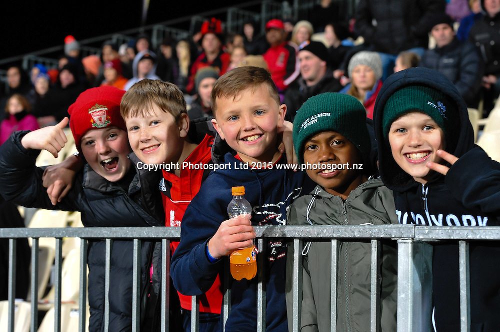 Fans during the ITM Cup rugby match, Canterbury v Hawke's Bay, at AMI Stadium, Christchurch, on the 12th September 2015. Copyright Photo: John Davidson / www.photosport.nz