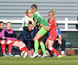 Bristol Academy's Nadia Lawrence tussles with Sunderland AFC Ladies' Stephanie Roche - Mandatory by-line: Paul Knight/JMP - 25/07/2015 - SPORT - FOOTBALL - Bristol, England - Stoke Gifford Stadium - Bristol Academy Women v Sunderland AFC Ladies - FA Women's Super League