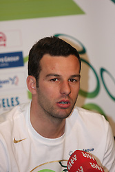 Samir Handanovic  at press conference of Slovenian national team before EURO 2012 qualifications football match against Italy, on March 21, 2011 in Ptuj, Slovenia. (Photo by Marjan Kelner / Sportida.com)