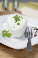 White Polish cheese on plate