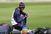 Lancashires Haseeb Hameed warming up prior to the Specsavers County Champ Div 2 match between Lancashire County Cricket Club and Northamptonshire County Cricket Club at the Emirates, Old Trafford, Manchester, United Kingdom on 14 May 2019.