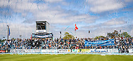 FC Helsingør fans byder spillerne velkommen med tifo før kampen i NordicBet Ligaen mellem FC Helsingør og Lyngby Boldklub den 25. maj 2019 på Helsingør Stadion. (Foto: Claus Birch / ClausBirchDK Sportsfoto).