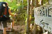 Chilkoot Trail, 1898, Skagway, Dyea, Alaska, hiking, back packing, eco-tourism, WPYR, Klondike, stampeders, Goldrush, horizontal, trail, sign,