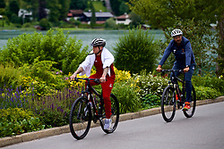 ROTTACH-EGERN, GERMANY - Thursday, July 27, 2017: Liverpool's Alberto Moreno and manager Jürgen Klopp cycle back from training from the Seehotel Uberfahrt on the banks of Lake Tegernsee on day two of their preseason training camp in Germany. (Pic by David Rawcliffe/Propaganda)
