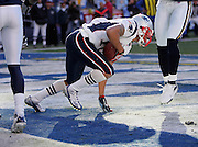 SAN DIEGO - JANUARY 14:  Wide receiver Jabar Gaffney #10 of the New England Patriots keeps his balance as he catches a 6 yard touchdown pass in the second quarter against the San Diego Chargers at the AFC Divisional Playoff Game held on January 14, 2007 at Qualcomm Stadium in San Diego, California. The Patriots defeated the Chargers 24-21. ©Paul Anthony Spinelli *** Local Caption *** Jabar Gaffney
