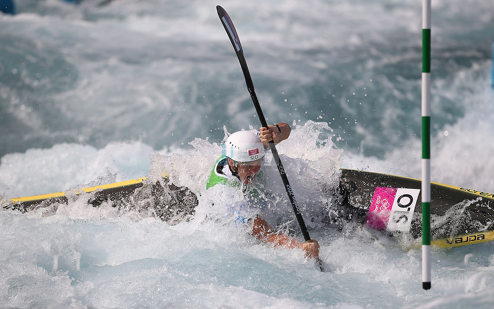 Peter Kauzer of Slovakia competes during the finals of the kayak slalom single 1k event at the Lee Valley White Water Centere during day 5 of the London Olympic Games London, England, United Kingdom on August 1, 2012..(Jed Jacobsohn/for The New York Times)....