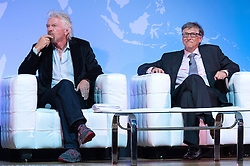 "© Licensed to London News Pictures. 26/10/2016. SIR RICHARD BRANSON and BILL GATES speak at the Joint Session Grand Challenges and Keystone Symposia ""Translational Vaccinology in Global Health"" conferences, October 26, 2016, London, UK.""<br /> <br /> London, UK. Photo credit: Ray Tang/LNP"