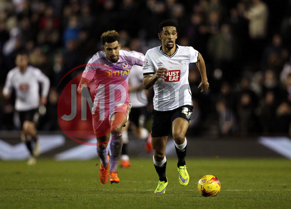 Debutant Nick Blackman of Derby County gets away from his former teammate Daniel Williams of Reading - Mandatory byline: Robbie Stephenson/JMP - 12/01/2016 - FOOTBALL - iPro Stadium - Derby, England - Derby County v Reading - Sky Bet Championship