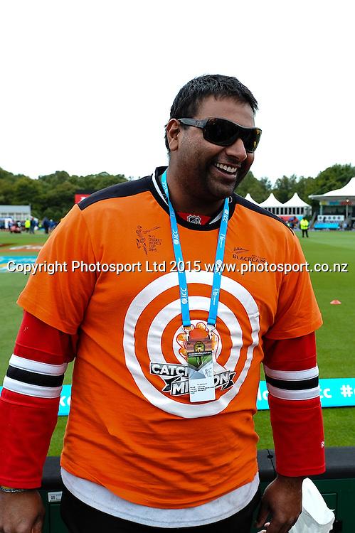 Sunjay Ganda one hand catch Taker during the ICC Cricket World Cup match between New Zealand and Sri Lanka at Hagley Oval in Christchurch, New Zealand. Saturday 14 February 2015. Copyright Photo: John Davidson / www.Photosport.co.nz