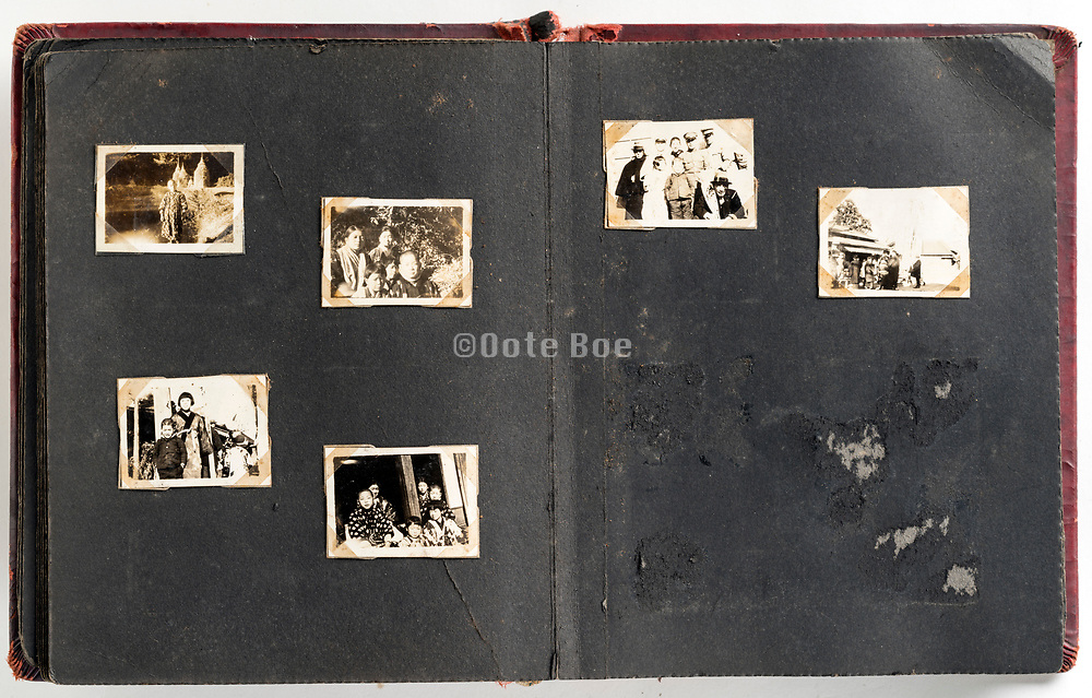 Japan family photo album with missing and fading images from ca late 1930s through 1950s